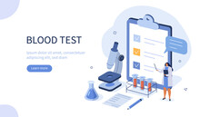 Doctor Scientist In Medical Laboratory Analyzing Blood Samples. Blood Test And Laboratory Research Concept. Flat Isometric Vector Illustration.