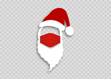 Santa Claus In A Medical Mask For Health Care Christmas. COVID-19 Prevention Concept. Icon In Flat Style, Paper Cutting. Place Your Photo. Vector Illustration Isolated On Transparent Background