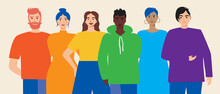 Lgbtq Group Of Friends Isolated As Homosexual Community Concept, Flat Vector Stock Illustration With Gay, Lesbian, Friendship