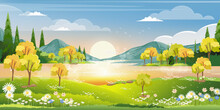 Spring Season In Village With Lake, Mountain, Green Meadow, Orange And Blue Sky In Evening,Vector  Countryside Landscape, Wild Flower Fields With Reflection Of Sun Rays On River In Summer Morning