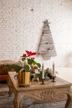 Festive Table Setting And Beautiful Christmas Decor In Living Room. Interior Design.Holiday Decorated Living Room With Vibrant Pointsettia And Classic Christmas Design. Creative Christmas Tree