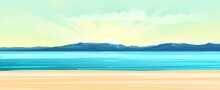 Seaside. Surf Line. Sea And Waves. On The Horizon There Is A Rocky Shore. Flat Style Illustration. Sand Beach.