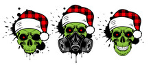 Green Skull With Santa Hat And Gas Mask. Christmas 2020. Paint Splashes And Drips. Grunge Vector Illustration