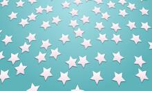 Light Glitter Pink Stars On Blue Background.
