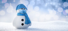 Snowman With Face Protection Mask - 3D Illustration