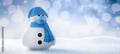 Snowman with face protection mask - 3D illustration Wallpaper Mural