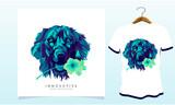 dog flower t-shirt design.