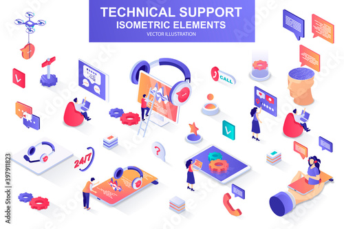 Technical support bundle of isometric elements Wallpaper Mural