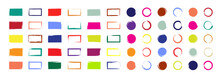 Grunge Brush With Colorful Ink. Circle And Rectangle Shapes With Borders. Color Square Paints With Frames. Set Of Bright Boxes For Design. Templates Of Sketches For Creative Banners, Labels. Vector