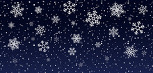 Christmas Snowflakes On Blue Background. Snowfall On Winter. White Snow Stars For Xmas Holidays. Abstract Frozen Pattern. Glow Flakes On Night. Design Of Illustration For Happy Party. Vector