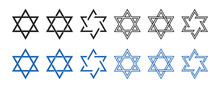 Star Of David Icon . Vector Illustration On White Background. Set Of David Stars . Jewish Consept. Collection Of Blue And Black Six Pointed Stars.
