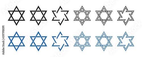 Fototapeta Star of David icon . Vector illustration on white background. Set of david stars . Jewish consept. Collection of blue and black six pointed stars. obraz