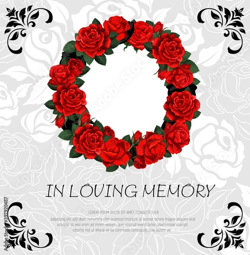 Funeral vector card with red rose sketch flowers wreath. Obituary frame with engraved floral decoration and in loving memory typography. Vintage poster with roses blossoms round border and leaves Wall mural