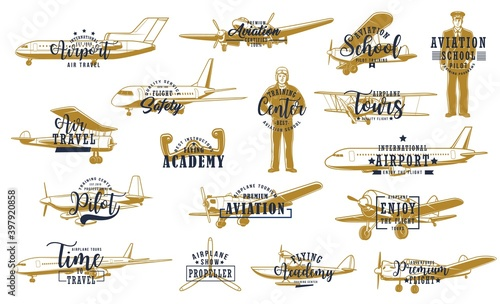Canvas Print Flight, airline planes icon, aviation fly and airport travel, vector retro