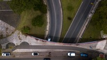 Top View With Drone From The Trench Of Avenida Marechal Deodoro With Avenida Nossa Senhora Da Luz, In The Alto Da XV Neighborhood, Near The Center Of Curitiba, Capital Of Paraná, State Of The Southern