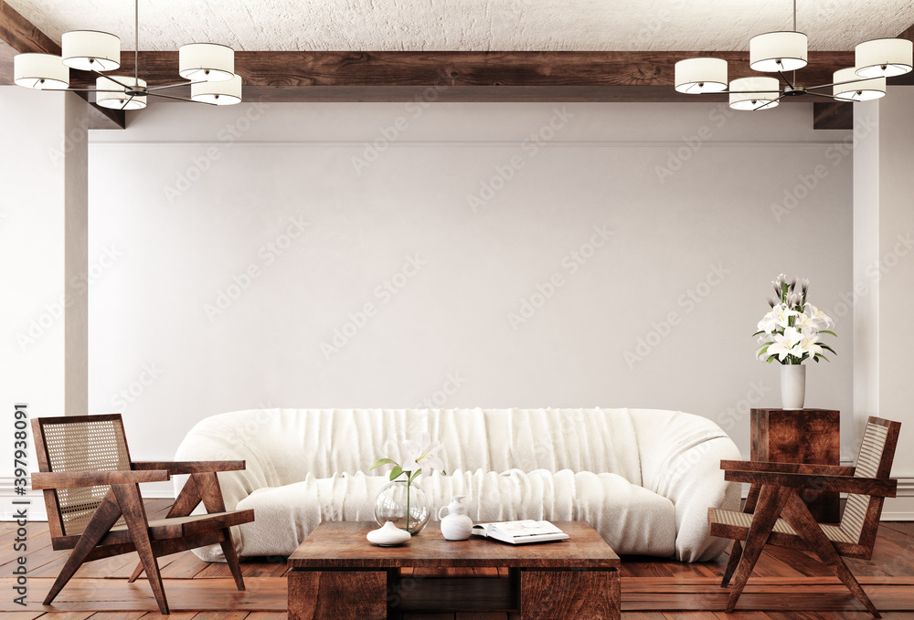 Fototapeta Traditional home interior background, 3d render
