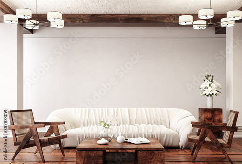 Obraz Traditional home interior background, 3d render - fototapety do salonu