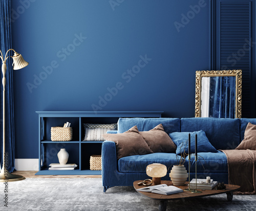 Obraz Dark blue home interior background, modern style, 3d render - fototapety do salonu