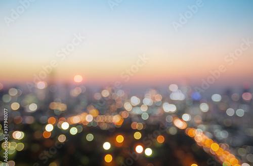 Bokeh light and blur city skyline sunrise background Fototapeta