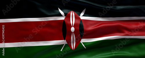 Fototapeta Waving flag of Kenya - Flag of Kenya - 3D flag background