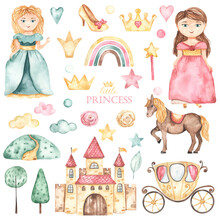 Watercolor Set With Cute Princesses, Castle, Carriage, Horse, Shoes, Crowns, Flowers In Pink And Green