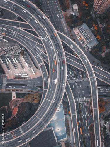 Canvas Aerial view of the complicated overpass bridges in Shanghai, China