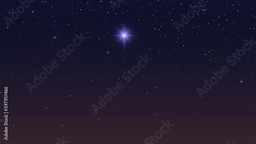 Obraz Bethlehem Star in dark night starry sky. Abstract background. Vector illustration. - fototapety do salonu