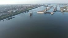 Jib Down Of Ship Leaving Ijmuiden Sluis, The Largest Sea Ship Lock In The World