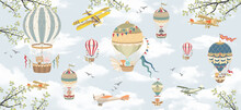 Children's Wallpaper, Mural. Sky, Clouds. Animals In The Sky On Balloons.  Apple Tree Branches.