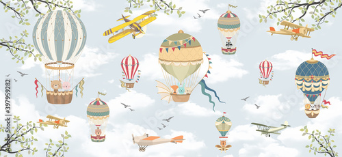 Murale ścienne  children-s-wallpaper-mural-sky-clouds-animals-in-the-sky-on-balloons-apple-tree-branches