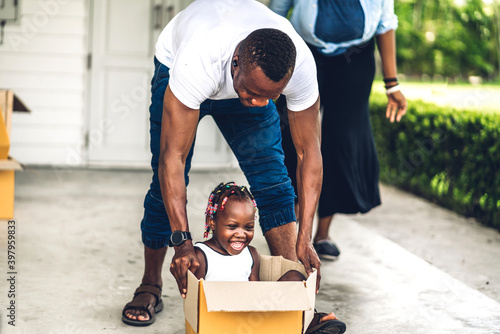 Canvastavla Portrait of enjoy happy love black family african american father and mother wit