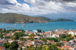 panorama of Fethiye city. aerial view of the popular tourist city of Fethiye and the Bay of the Mediterranean sea