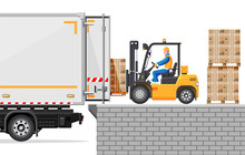 Forklift Loading Pallet Boxes Into Truck. Warehouseman With Checklist. Electric Uploader Loading Cardboard Boxes In Delivery Car. Logistic Shipping Cargo. Storage Equipment. Flat Vector Illustration