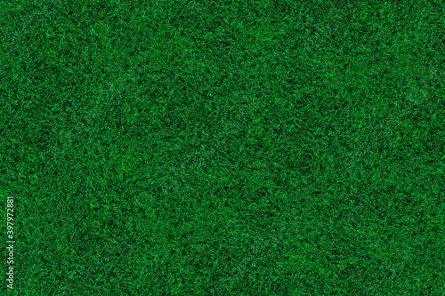 top view of green turf texture for pattern and background