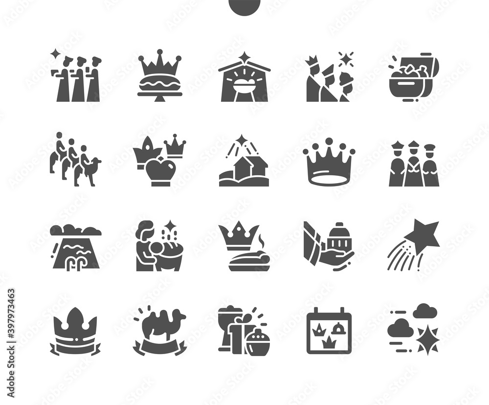 Fototapeta Happy Epiphany Day 6 January. Three kings following the star. Calendar. Sixth of january. Traditional holiday. Vector Solid Icons. Simple Pictogram