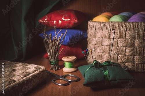 Fototapeta still life with pillows obraz