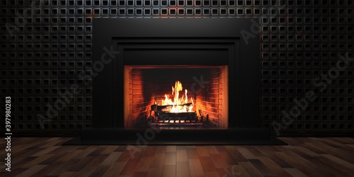 Photo Burning fireplace, cozy home interior at christmas