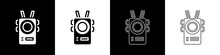 Set Police Body Camera Icon Isolated On Black And White Background. Vector.