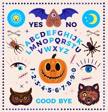 Ouija Board With Pumpkin. Occultism Set. Vector Illustration For Kids.
