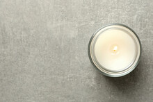 Scented Candle For Relax On Gray Background