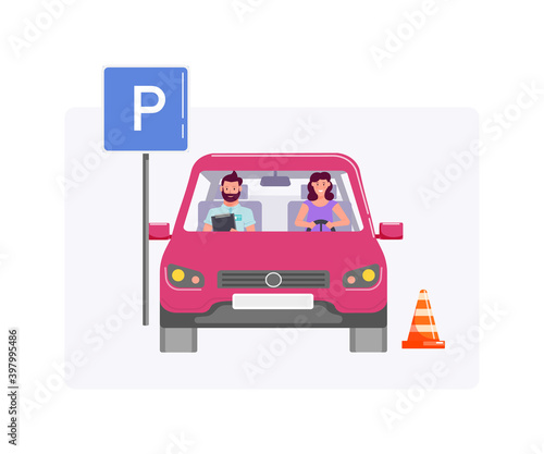 Obraz Man examining student parking car on driving test on white - fototapety do salonu