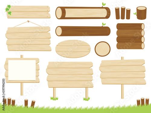 Fototapeta 木の看板と丸太のフレームセット-Wooden sign and log frameset obraz
