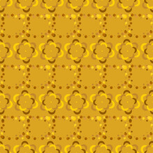 Fortuna Gold Geometric Pattern Of Small And Large Circles And Bubbles. Fortuna Gold Background With Yellow, Brown Flower