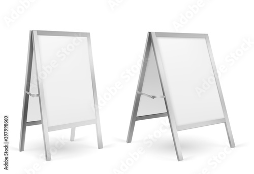 Carta da parati Pavement sign, blank sidewalk advertising stand isolated on white background