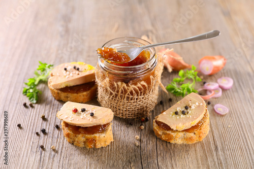 Fototapeta candied onion and toast with foie gras