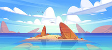 Ocean Or Sea Nature Landscape With Shallow Or Land With Rocks In Clean Water Under Fluffy Clouds And Gulls Flying In Sky. Morning Or Day Time Tranquil Seascape Background, Cartoon Vector Illustration