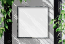 Metal Frame Hanging In Street Mockup. Template Of A Picture Framed On A Wall Bathed In Sunlight 3D Rendering