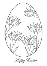 Outline Easter Eggs. Happy Easter Pattern Linear Style. Doodle Style.