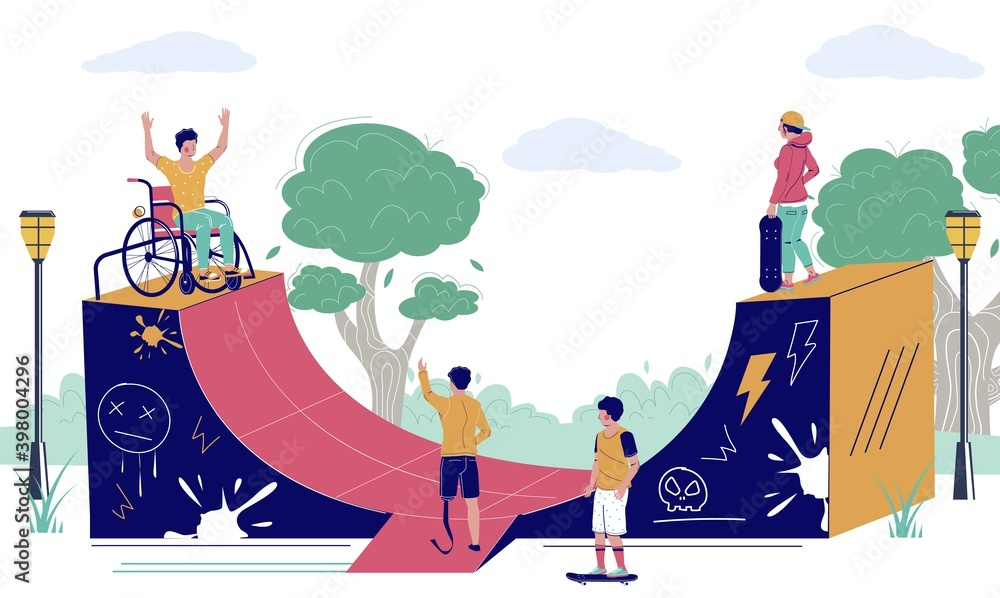 Fototapeta Happy young man using wheelchair in skatepark, flat vector illustration. Skateboarders riding skateboards. Believe in yourself, disabled person active lifestyle.