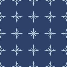 Navy Blue Seamless Pattern With Simple Blue Snowflakes For Christmas And New Year Design, Wrapping Paper, Wallpapers.